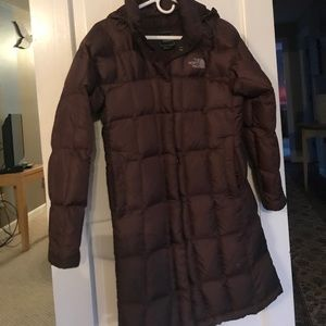 Northface women's long down coat with hood